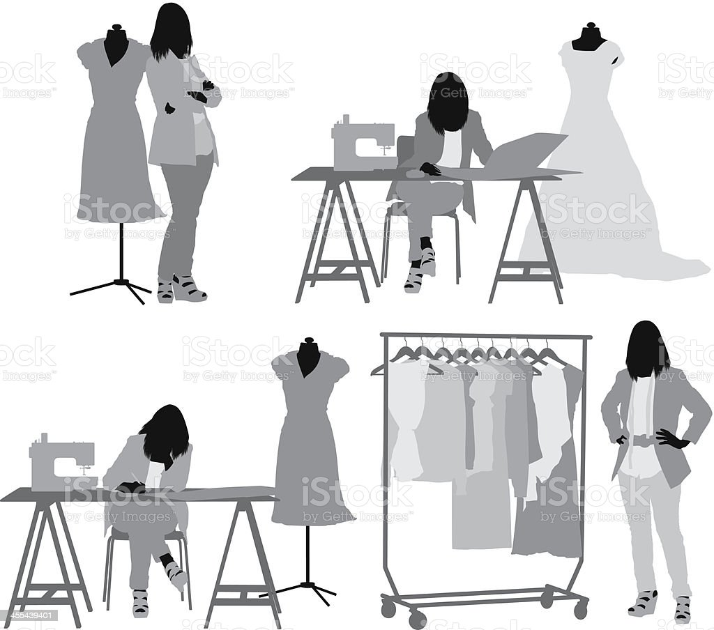 fashion designer working in her workshop stock vector art