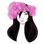 Fashion elegant woman with abstract hairdressing, diadem and wreath from the beautiful pink flowers, fluffy eyelashes, pink lips. Beauty logo, spa salon, vector illustration.