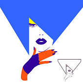 Fashion elegant woman with abstract hairstyle, fluffy eyelashes, dark lips and blue manicure nails in bright gloves. Beauty logo, vector illustration.