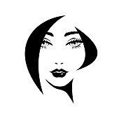 Fashion elegant woman with black abstract hairdressing, fluffy eyelashes, black lips. Beauty logo, salon, vector illustration.