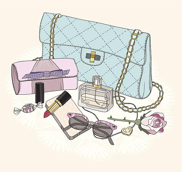 fashion basics.  hintergrund mit tasche, sonnenbrille, jewelery, make-up und blumen. - gehäkelte lebensmittel stock-grafiken, -clipart, -cartoons und -symbole