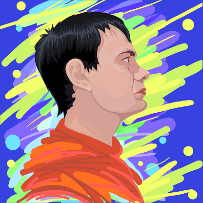 Fashion evening illustration vector allegory symbol art impressionism portrait face profile of a young man with black short hair in a bright red sweater against the background of the night lights of the city