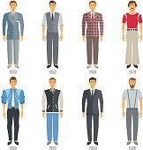 Men Fashion Icons Set. Fashion Evolution Vector Illustration. Man Fashion Development Decorative Set.  Fashion Evolution Design Set. Fashion Evolution Flat Isolated Set.