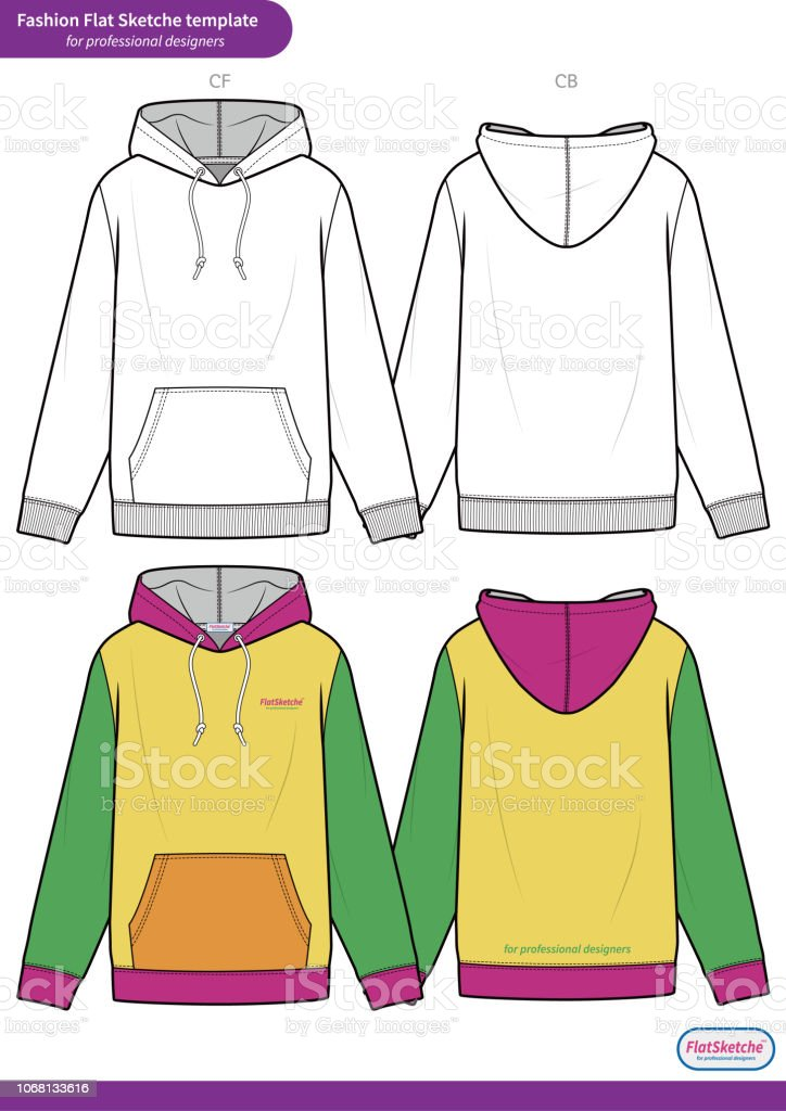 3b70bb3ff Hoodie Fashion Flat Technical Drawing Vector Template Stock Vector ...