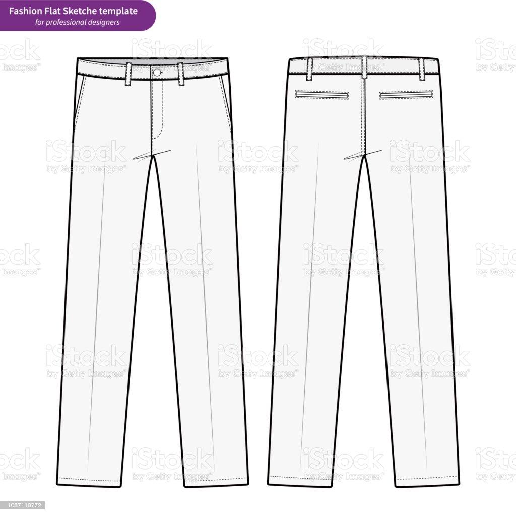 De Pantalon Classique Mode Vector Technique Pantalons Plat Gabarit J3TlKcF1