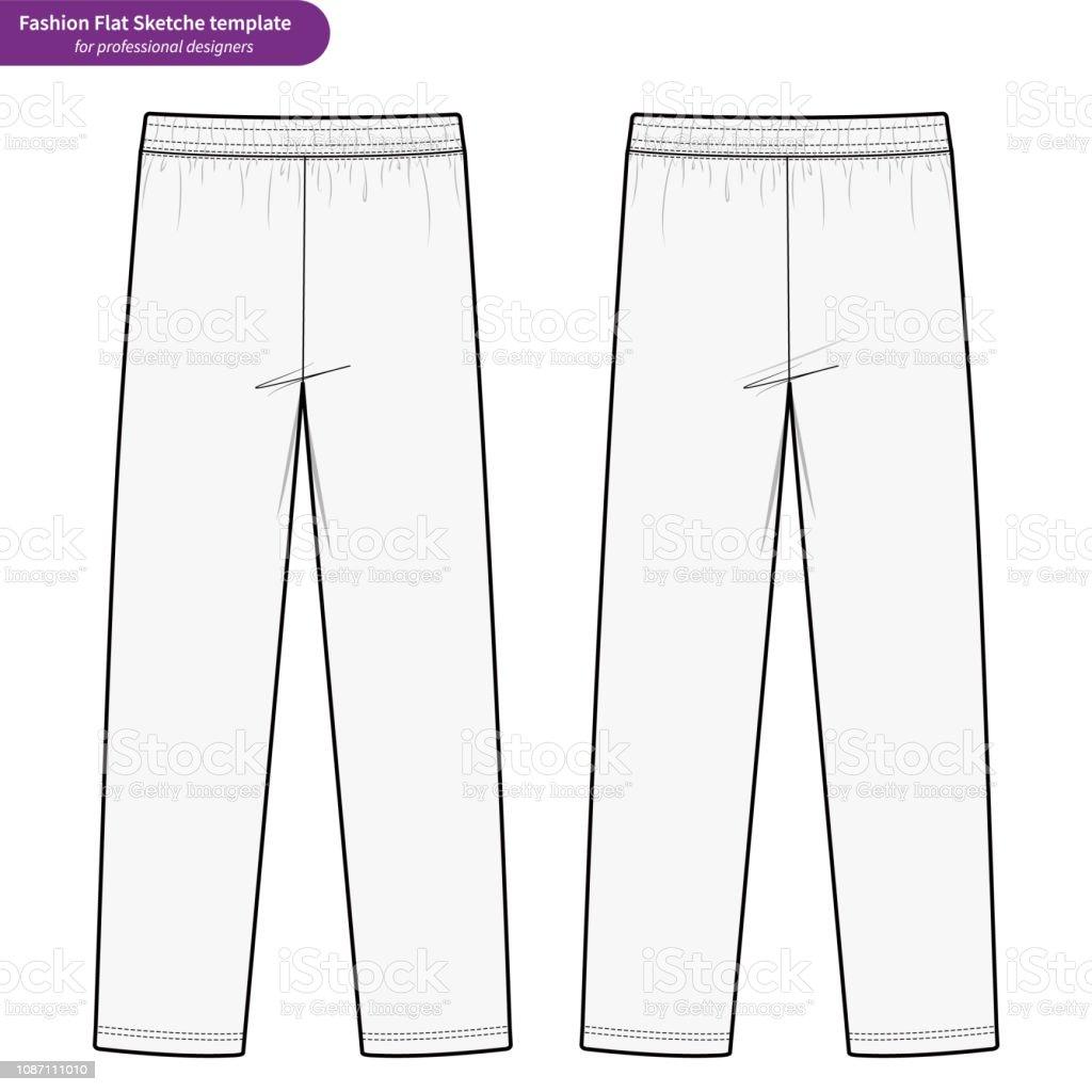 De Dessin Plat Gabarit Survêtement Mode Technique Pantalon Vector TwuXOiPZlk