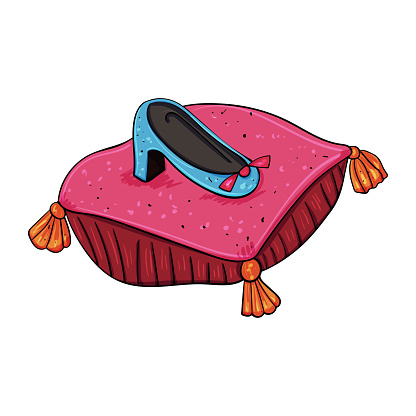 Fashion footwear. Princess or queen shoe on a pillow. Vector clip art illustration.