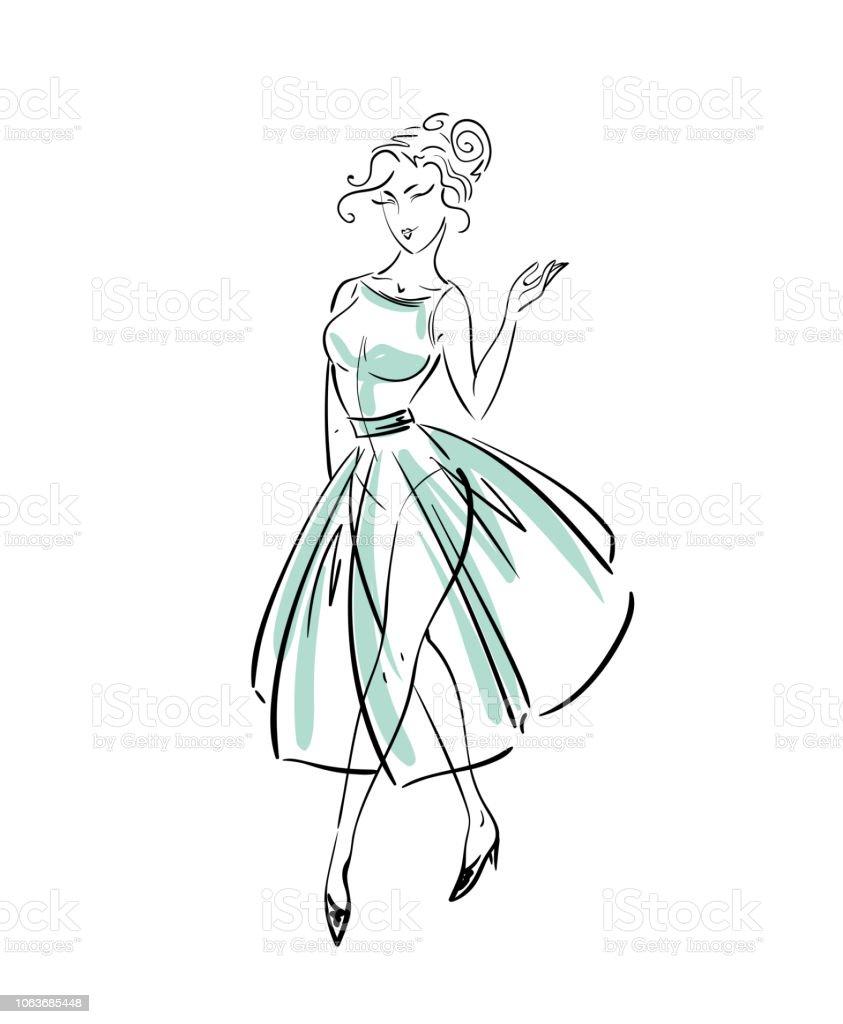Fashion freehand dress sketch векторная иллюстрация