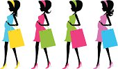 Vector illustration - Fashion future mother with shopping bags(Pregnancy).