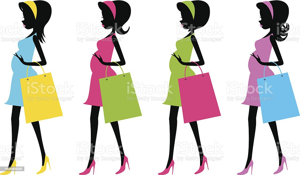 Fashion future mother with shopping bags(Pregnancy) vector art illustration