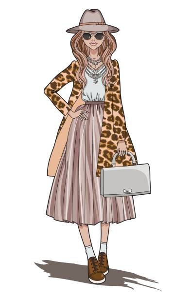 ilustraciones, imágenes clip art, dibujos animados e iconos de stock de chica de moda. hermosa joven en capa de impresión de leopardo y bolso gris en sus manos. - moda de otoño