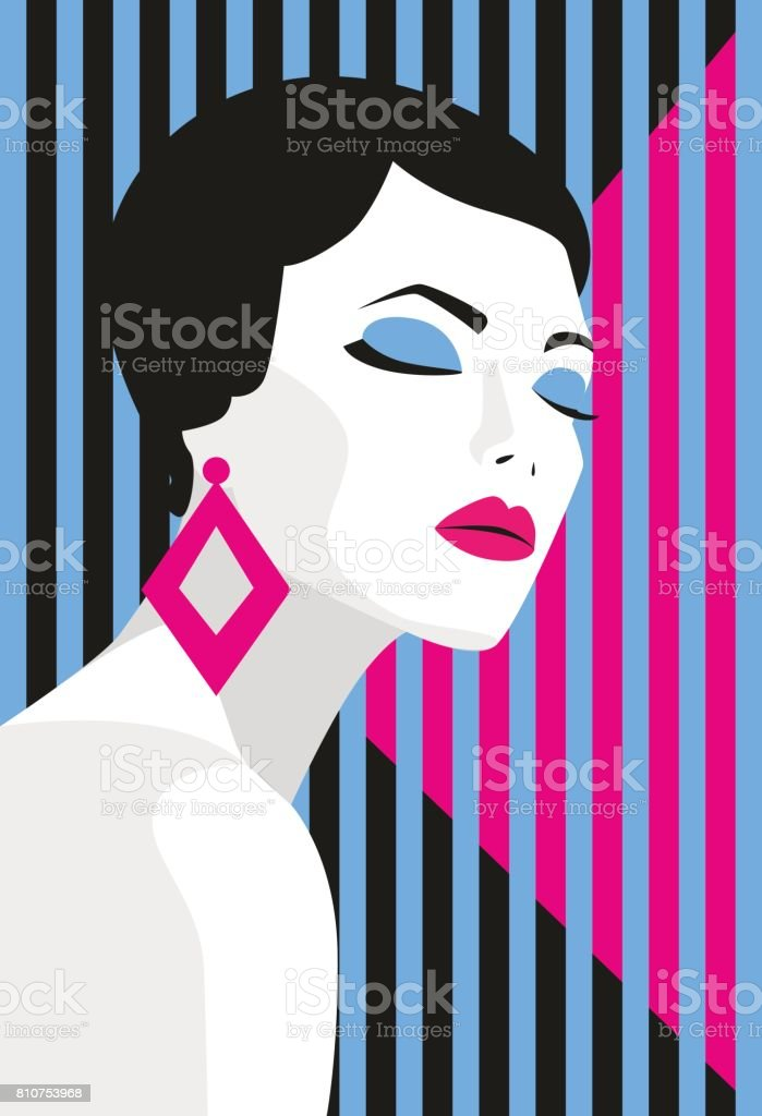 Fashion Girl Bold Minimal Style Pop Art Opart Positive