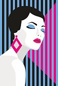 Fashion girl. Bold, minimal style. Pop Art. OpArt, positive negative space and colour. Trendy strips.Vector illustration.