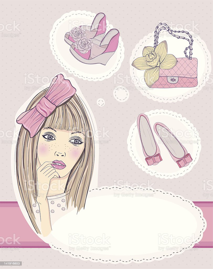 Fashion girl dreaming about bags and shoes royalty-free stock vector art