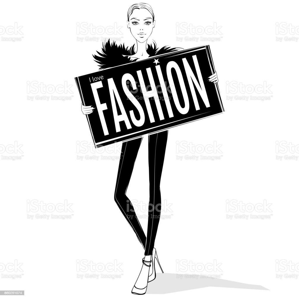 Fashion girl ilustración - ilustración de arte vectorial