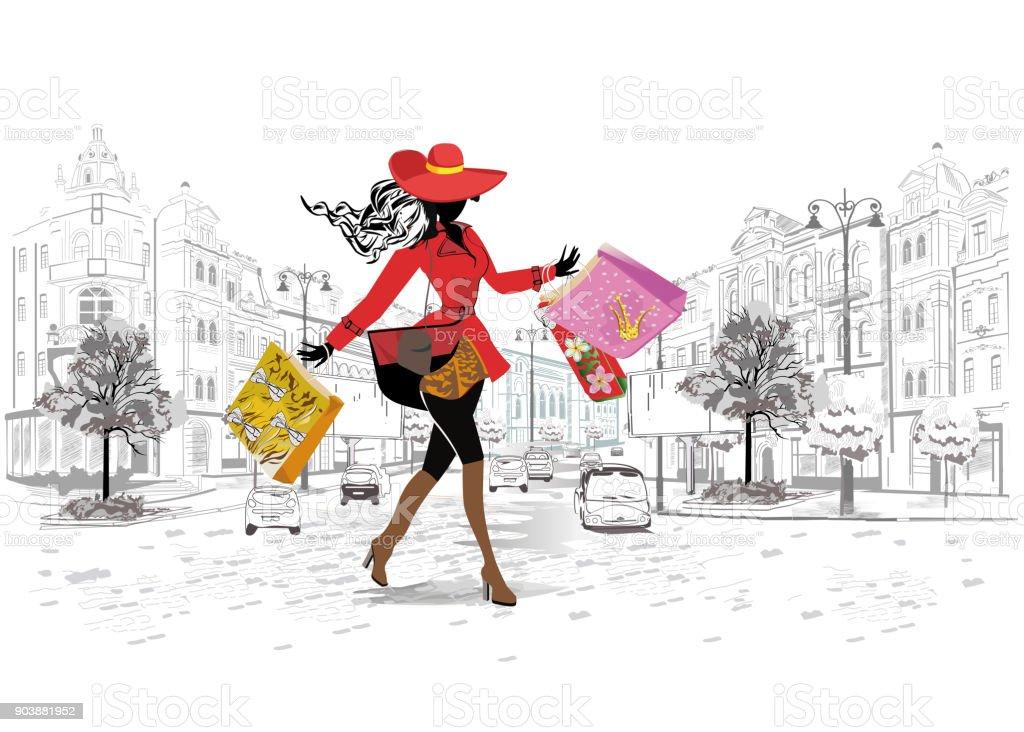 Menina da moda em um chapéu e em um casaco de compras. - ilustração de arte em vetor