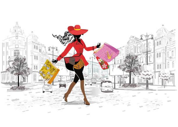 Fille Fashion dans un chapeau et un manteau de shopping. - Illustration vectorielle