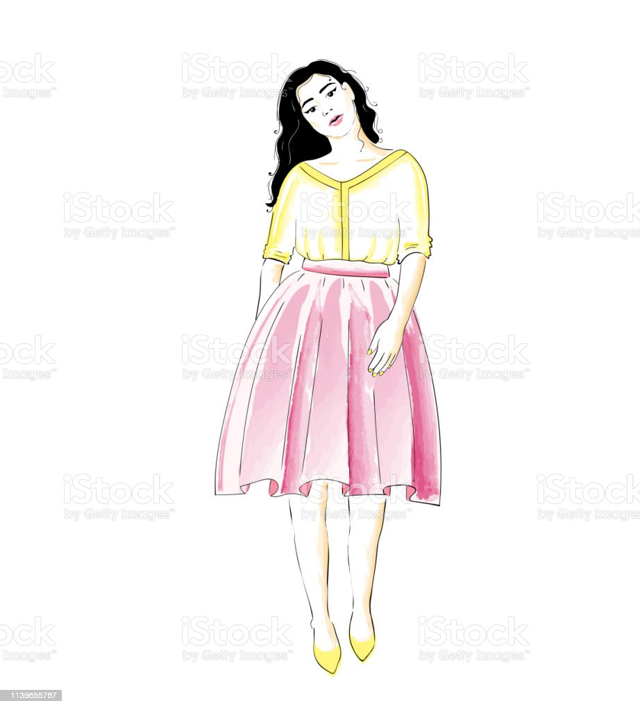 717f84c7596674 Fashion girl in a skirt and blouse or dress. Classic feminine style  wardrobe royalty-