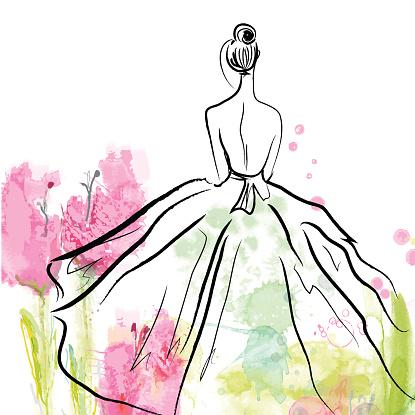 Fashion girl in beautiful dress - sketch
