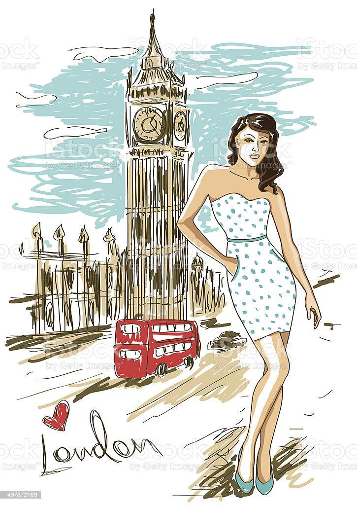 Fashion girl in London royalty-free stock vector art
