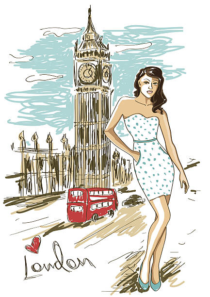 fashion girl in london - london fashion stock illustrations, clip art, cartoons, & icons