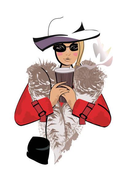 mode-mädchen im roten mantel mit einem pappbecher kaffee. - pelzmäntel stock-grafiken, -clipart, -cartoons und -symbole