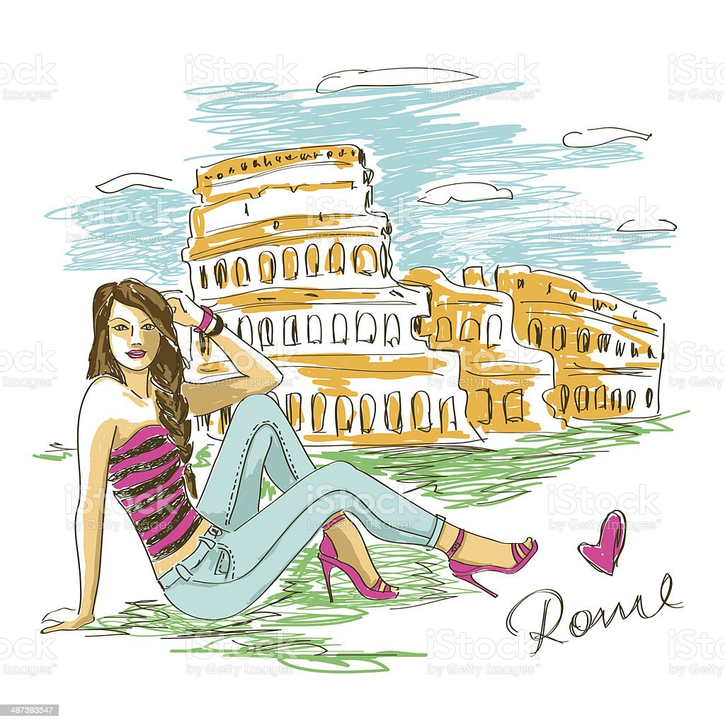 Fashion girl in Rome royalty-free stock vector art