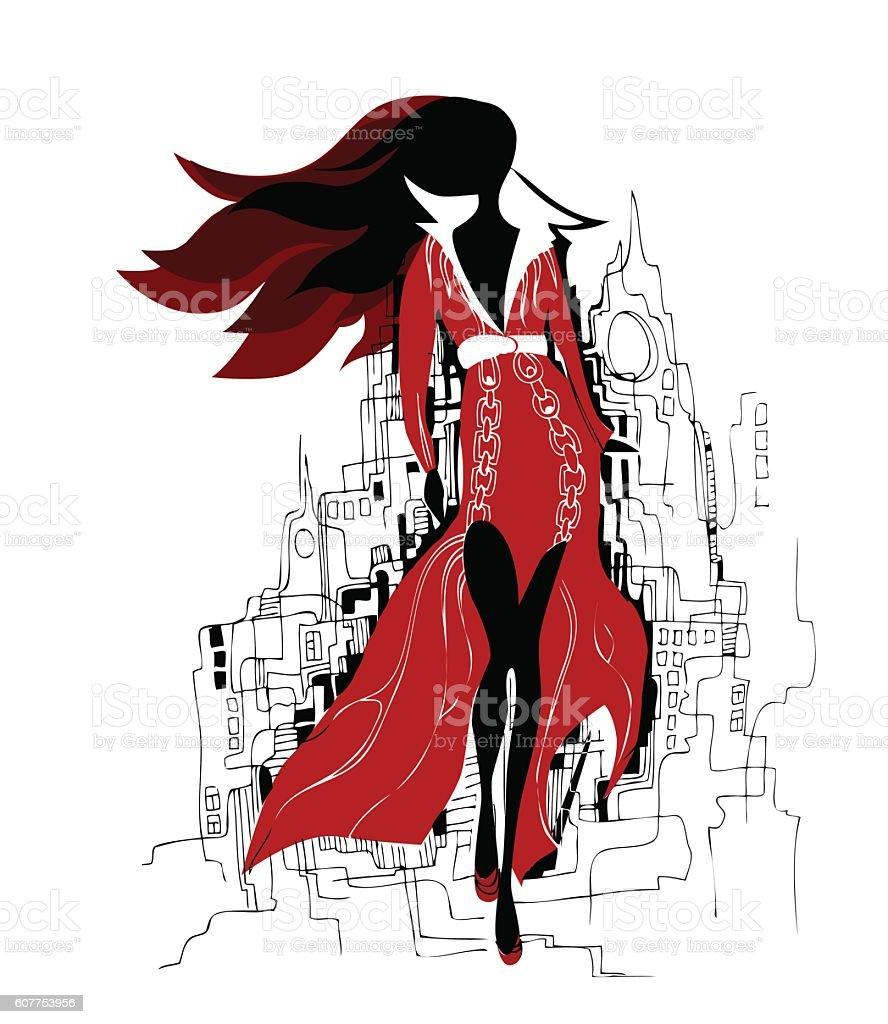 Fashion girl in sketch style. Vector illustration. - ilustración de arte vectorial