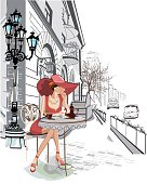 Fashion girl in the street cafe.  The series of old town views in Central Europe. Hand drawn illustration.