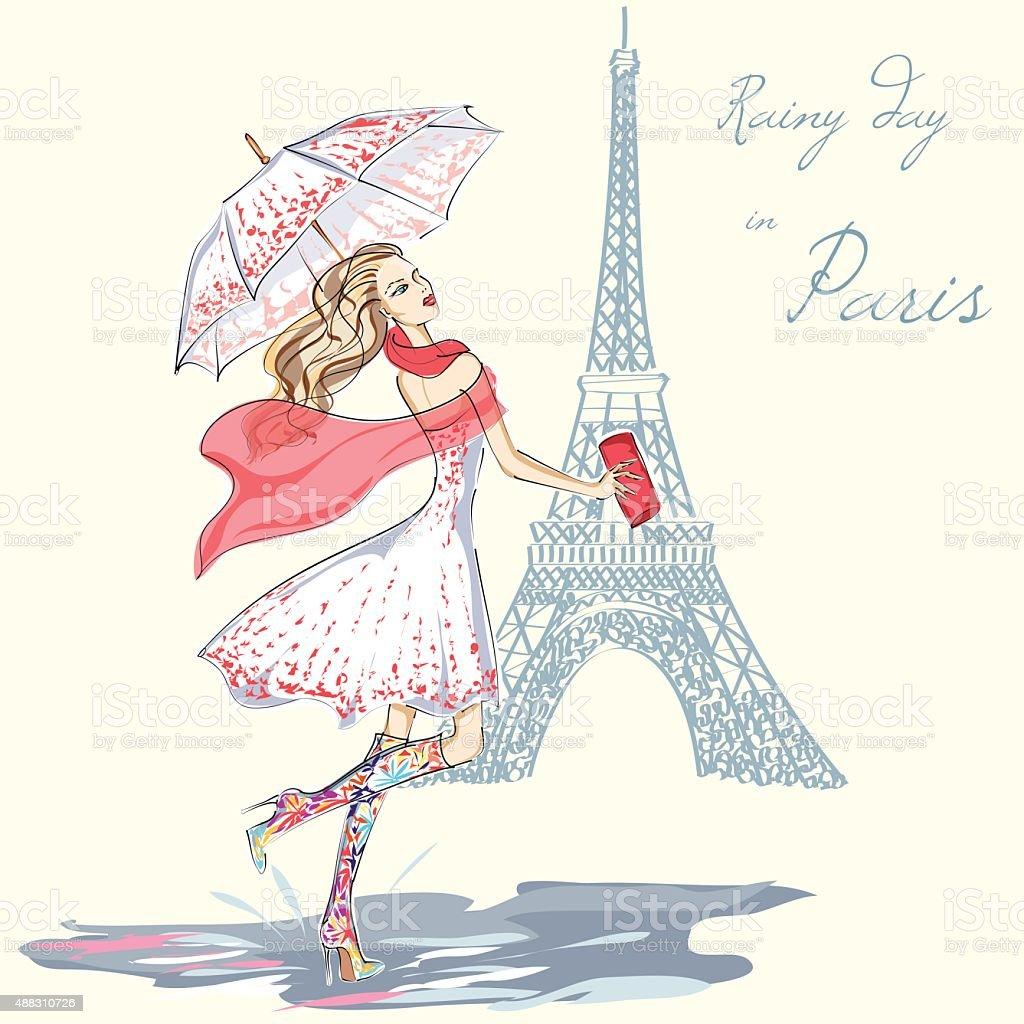 Menina de moda dia chuvoso em Paris Ilustração desenhada à mão - ilustração de arte em vetor