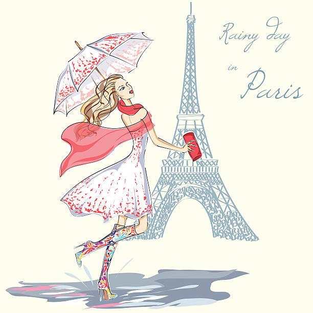 ilustrações, clipart, desenhos animados e ícones de menina de moda dia chuvoso em paris ilustração desenhada à mão - moda parisiense