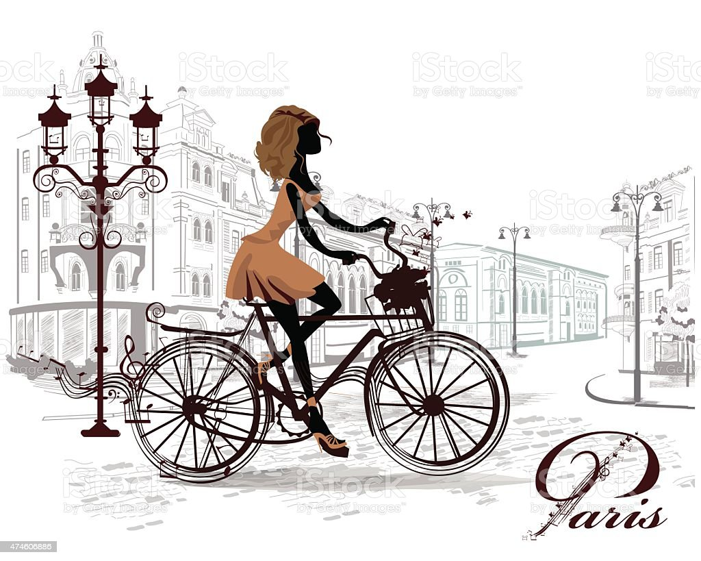 Fashion girl rides a bicycle vector art illustration