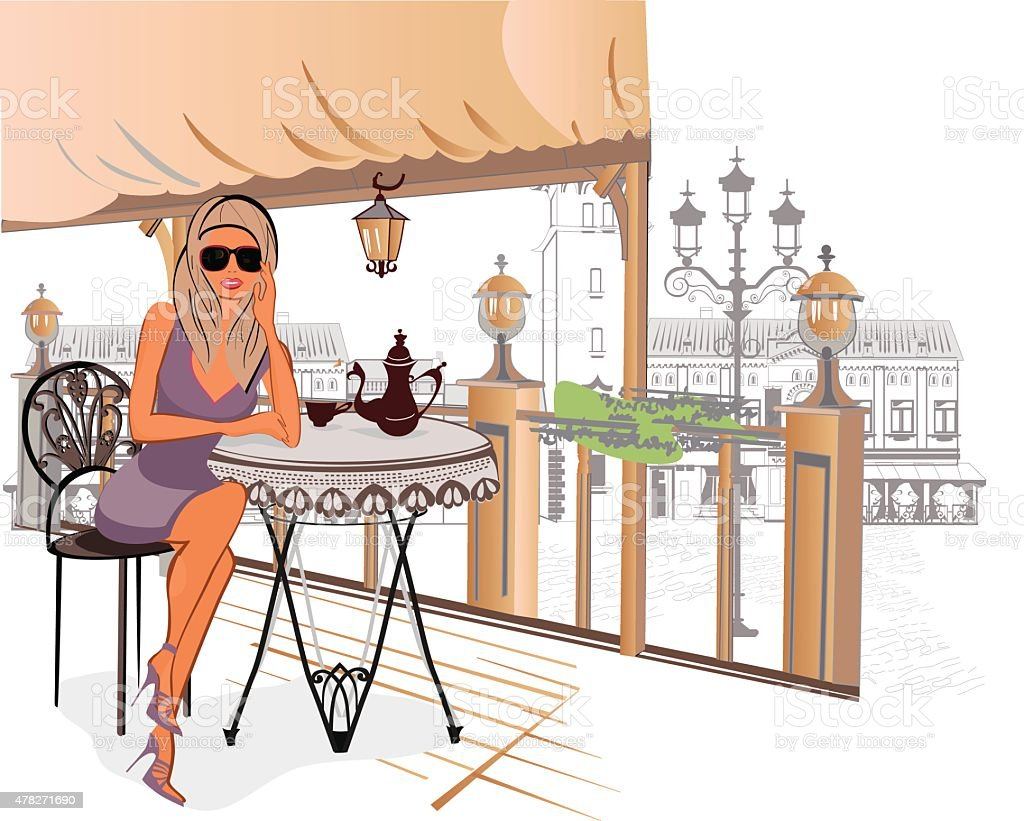 Fashion girl sitting in the cafe vector art illustration