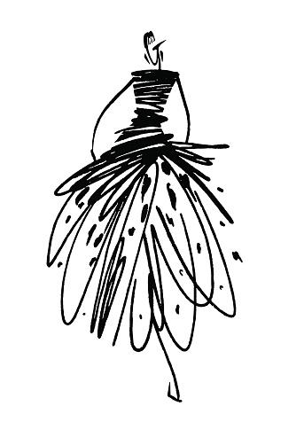 Fashion Girl Sketch Hand Drawn Stylized Silhouettes ...
