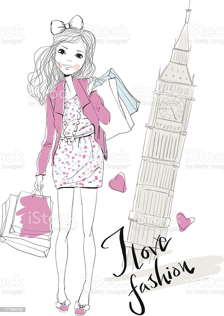 Fashion Girl travels the world royalty-free stock vector art