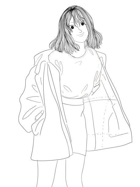 Fashion girl wearing sweater outdoors vector art illustration