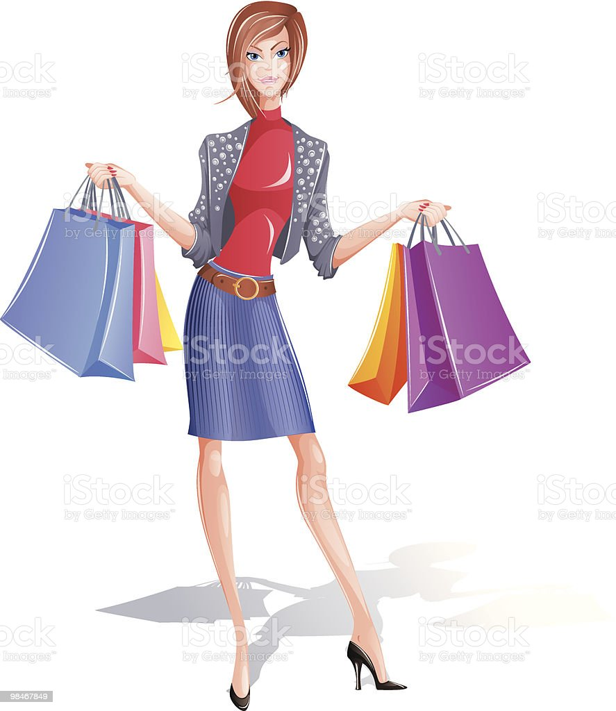 Fashion girl with bag royalty-free fashion girl with bag stock vector art & more images of adult