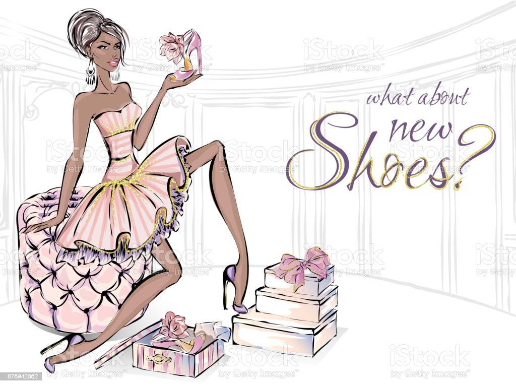Chica con zapatos de tacón alto de belleza sentada en el sofá en la sala de estar de moda. Zapatos amor comercial, mujer de moda de lujo, arte de brillo detalles vector ilustración imágenes prediseñadas - ilustración de arte vectorial