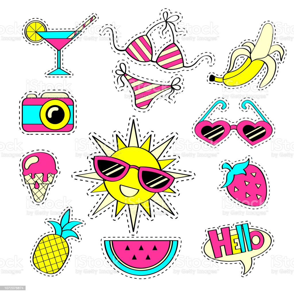 Fashion girlish patch badges with strawberry, watermelon, sunglasses, ice cream, camera, sun, banana, swimsuit, pineapple, cocktail. Stickers in cartoon 80s-90s comic style. Summer collection vector art illustration