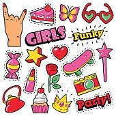 Fashion Girls Badges, Patches, Stickers - Cake, Hand, Heart, Crown and Lipstick in Pop Art Comic Style. Vector illustration