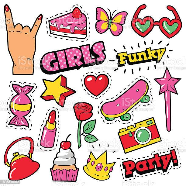 Fashion girls badges patches stickers cake hand heart crown vector id623346968?b=1&k=6&m=623346968&s=612x612&h=cnjrmspvhc1iesc22rkokeu6brriuzre7ihlskpzdxg=