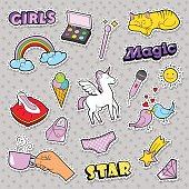 Fashion Girls Badges, Patches, Stickers - Rainbow, Cat, Hand and Birds in Pop Art Comic Style. Vector illustration