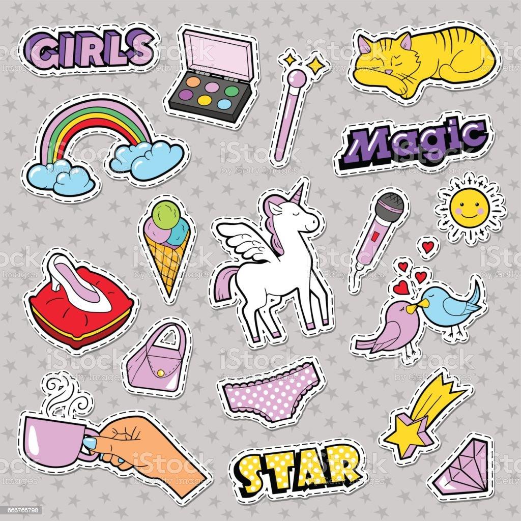 Fashion Girls Badges with Rainbow, Cat vector art illustration