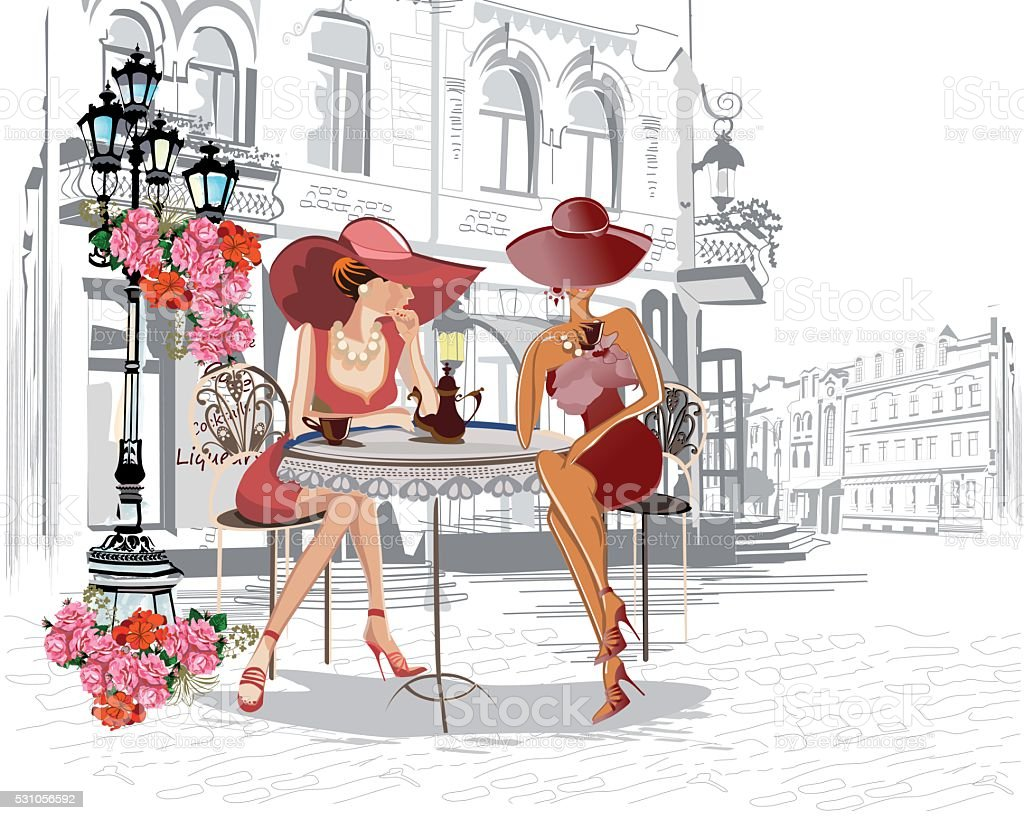 Fashion girls in the street cafe. vector art illustration