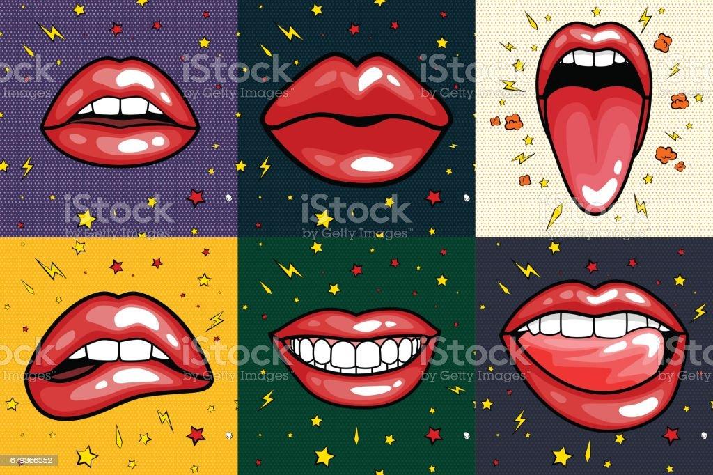 Mode Mädchen Lippen Mit Rotem Lippenstift In Cartoon Popart Stil