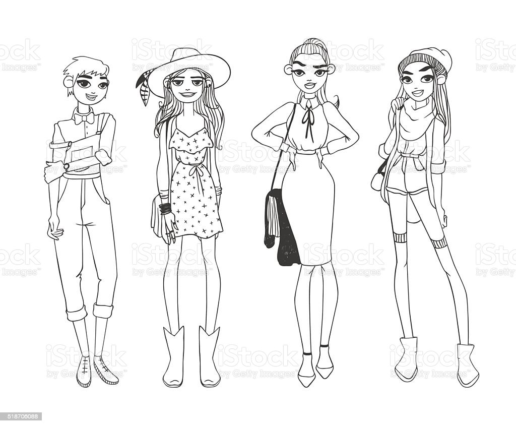 Fashion Girls Pure Beauty Colored Cartoon Sketch Flat