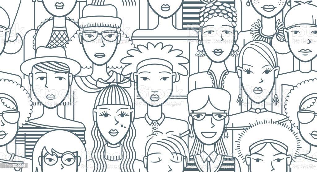 Mode meisjes, naadloze patroon - Royalty-free Achtergrond - Thema vectorkunst
