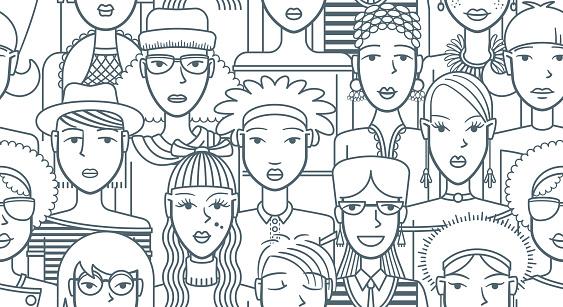 Mode Meisjes Naadloze Patroon Stockvectorkunst en meer beelden van Achtergrond - Thema