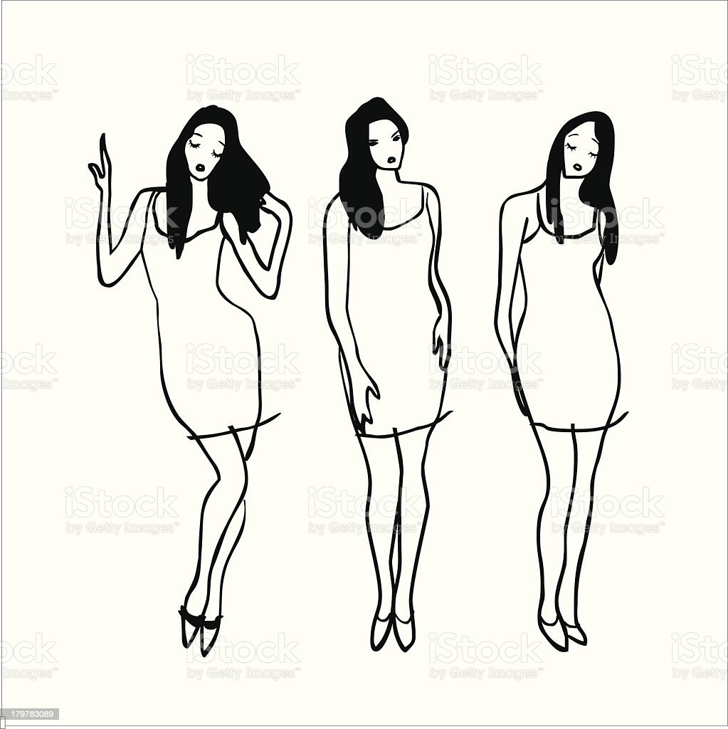 Fashion Girls vector art illustration