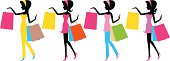 Vector illustration - Fashion girls with shopping bags.